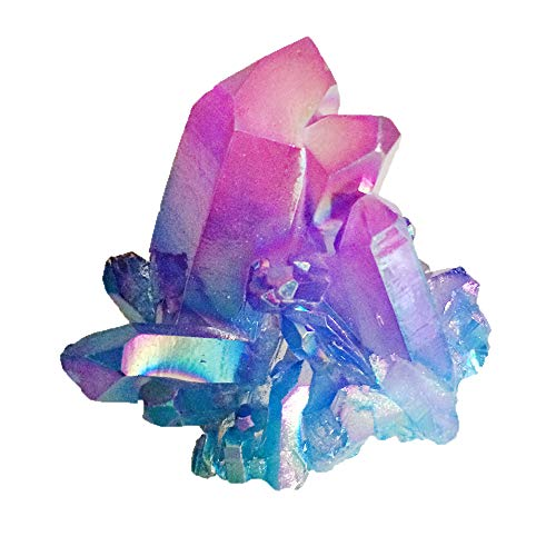 DingSheng Aura Bismuth Titanium Coated Quartz Crystal Clusters Rock Quartz Cluster Geode Druzy Healing Crystal Home Decoration Specimen (Titanium Quartz-Purple&Blue)