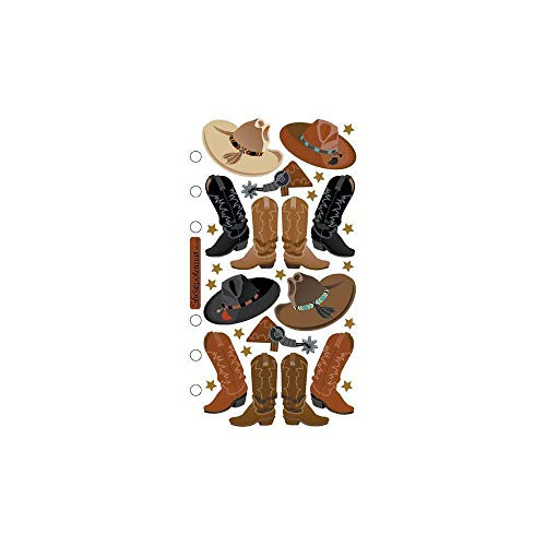 (3 Sheets Scrapbooking Stickers Western Cowboy Boots Hats Spurs Stars Orange Black Decorative Crafts tokoriverside)