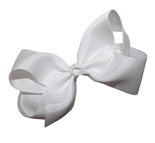 - Beautiful Handmade Variety of Bright Colors Grosgrain Ribbon Bows with Alligator Clip (White)