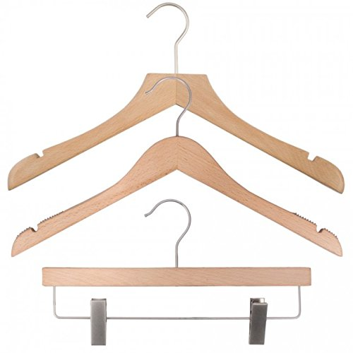 NAHANCO 20617HUSK Wood Clothes Hanger Kit - Low Gloss Beech (Pack of 79) by NAHANCO