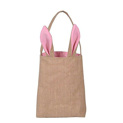 Easter Bunny Bag,SOMAN Bunny Ears Design Jute Bag to Carry Eggs Candy and Gifts(pink)