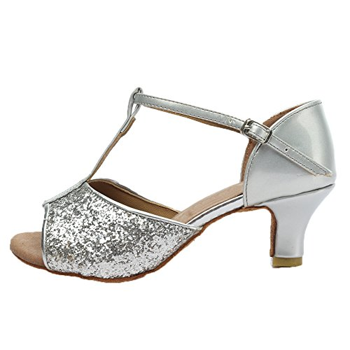 Roymall Womens Latin Dance Shoes Ballroom Salsa Tango Performance Shoes,Model 216 5cm Silver