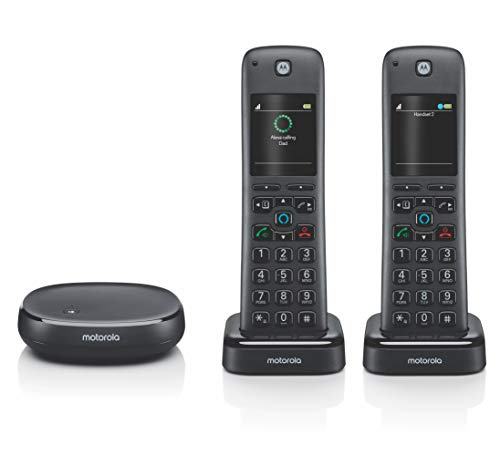 Motorola AXH02 AX Series DECT 6.0 Cordless Digital Phone and Answering System with Built-in Alexa (2 Handsets) from motorola