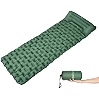 OMORC Inflatable Camping Sleeping Mat with Built-in Pillow for Backpacking, Traveling, Hiking