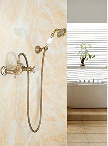 レインシャワーセット、アンティーク真鍮のシャワーの蛇口レインシャワー、レトロなシャワーの蛇口、シャワーヘッド、ハンドシャワー、大理石柄のシャワーポール、家庭用、ホテル、バスルーム,真鍮