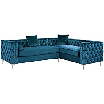 Iconic Home FSA2589-AN Mozart Elegant Velvet Modern Deeply Tufted with Silver Nailhead Trim Chrome Legs Right Facing Sectional Sofa, Teal