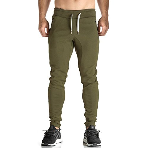 Men's Basic Active Running Gym Jogger Trousers with Zipper Pockets(Green,M) Cotton Blend Gym Pant