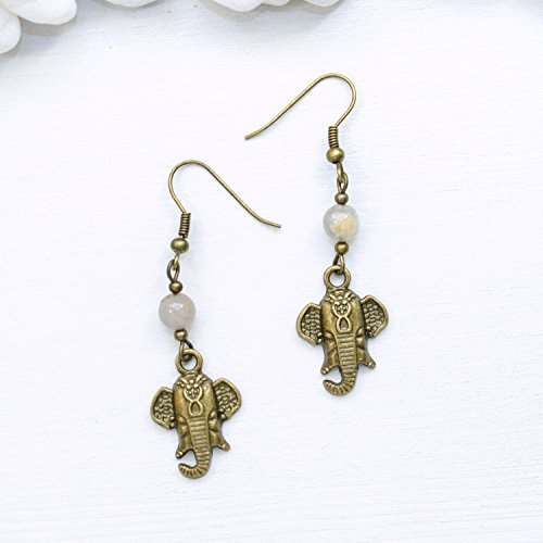 Dainty Ganesha Elephant Earrings - Natural Moonstone Hippie Unique Spiritual Healing Jewelry - Handmade with love in Phoenix, AZ