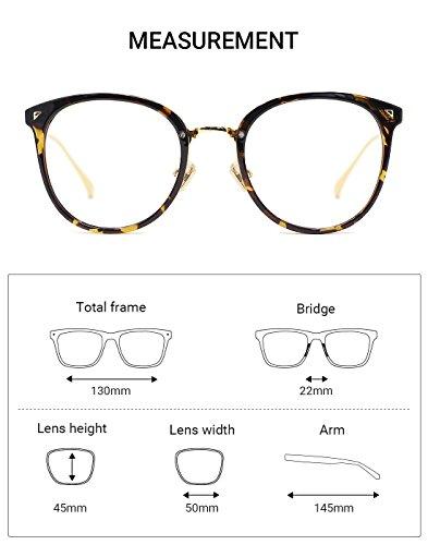 7c194995f8e5 TIJN Women TR90 Retro Metal Round Glasses Frame Optical Rx-able Eyeglasses  Frame