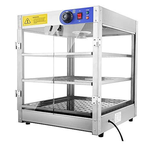 Commercial 3 Tier Food Warmer Display Case Pizza Cabinet 20'' Countertop Hot Food Showcase for Restaurant