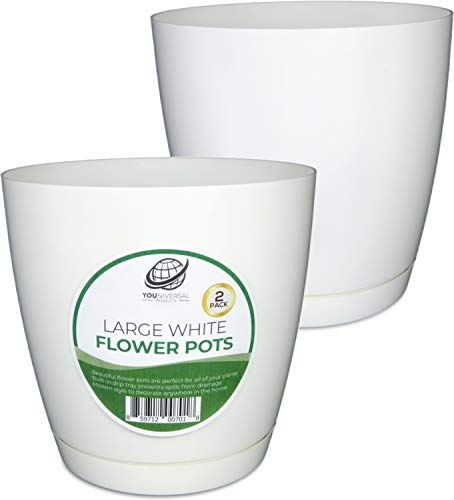 YOUniversal Products - Large White Plastic Flower Pot - 2 Pack ()
