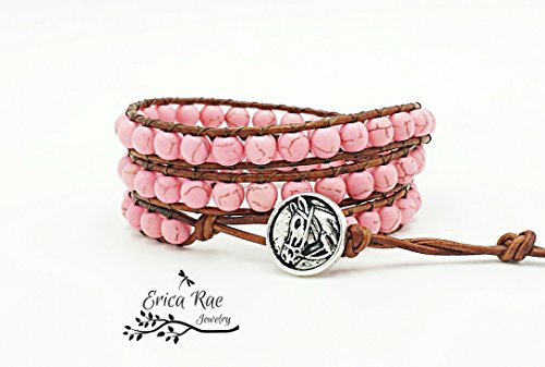 Pink Turquoise gemstone leather triple wrap horse - Erica Wear