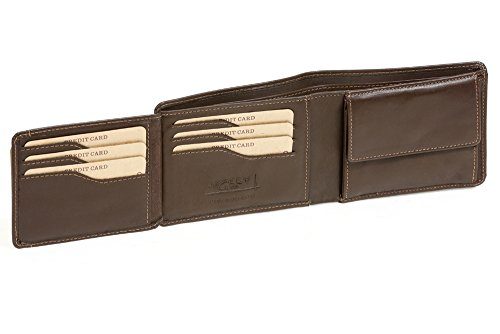 Cartera con solapa para señores y señoras (con la caja de madera) LEAS, Piel auténtica, marrón - ''LEAS Elegance-Edition''