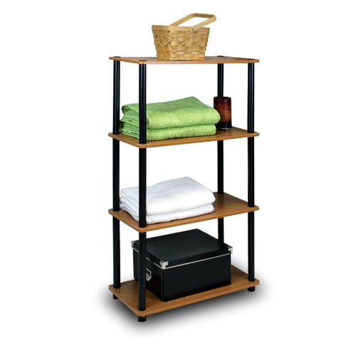 Furinno (99557LC/BK) Turn-N-Tube 4-Tier Multipurpose Shelf Display Rack - Light Cherry/Black by Furinno