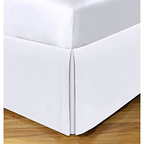 King Size Split Corner Bed Skirt 16'' Inch Drop - 100% Egyptian Cotton Luxurious & Hypoallergenic Easy to Wash Wrinkle, (White, King Size Bed Skirt with 16 inch Drop)