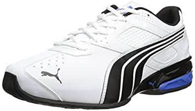 PUMA Men's Tazon 5 Wide Training Shoe, White/Black/Strong Blue, 10.5 W US