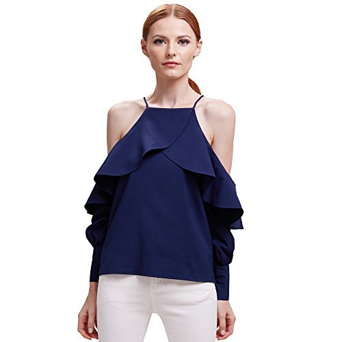 BELLA PHILOSOPHY Women's Chiffon Blouse Shirt with Halter Cami Off Shoulder Ruffles Flounce Long Sleeve Details … (XL, Navy - Designers Top For Women