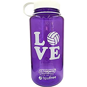 Nalgene Water Bottle (Purple/White, Love Volleyball)