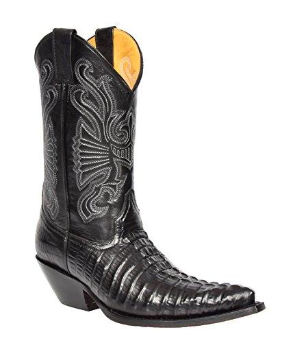 Herren Echte Leder Cowboy Stiefel Western Absatz Wadenlänge Spitz Zehe Schuhe HLG03CA Schwarz