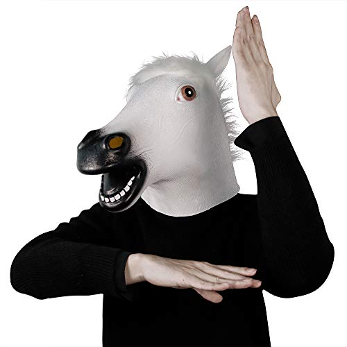 Novelty Halloween Costume Party Latex Animal Head Mask Rubber White Horse -