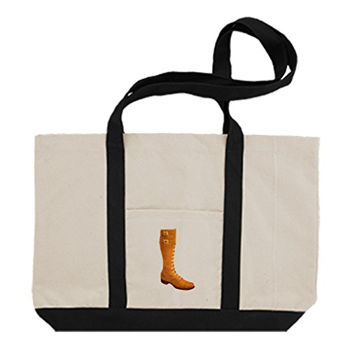 Cotton Canvas Boat Tote Bag Long Brown Boot Vintage Look By Style In Print | Black by Style in Print