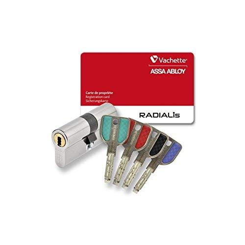 Cylindre profilé haute sécurité VACHETTE RADIALIS, nickelé, 4 clés incopiables + carte de propriété, dim, 32,5 x 32,5 mm nickelé 4 clés incopiables + carte de propriété