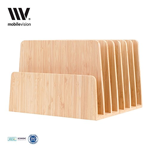 MobileVision Bamboo Desktop File Folder Organizer and Paper Tray, 7 Slots