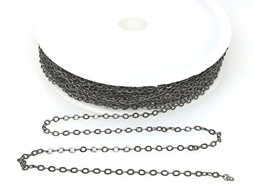 Small Link Chain 2.1 x 1.7mm Dangling Chain, Gunmetal Plated Brass 32 feet