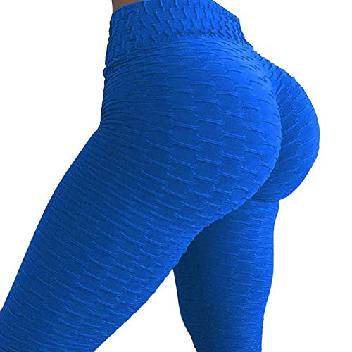 Fittoo Women's Honeycomb Ruched Butt Lifting High Waist Yoga Pants Chic Sports Stretchy Leggings Blue(S) -