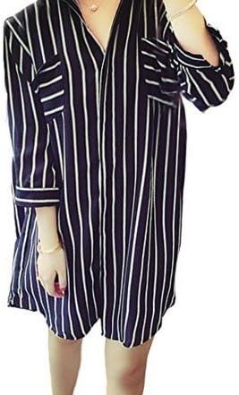 Camisa larga de gasa de rayas para mujer, algodón, negro, XX-Large: Amazon.es: Hogar