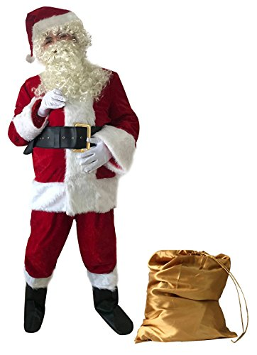 ilishop Men's Santa Suit 10pc. Plus Size Christmas Adult Costume Red 2XL