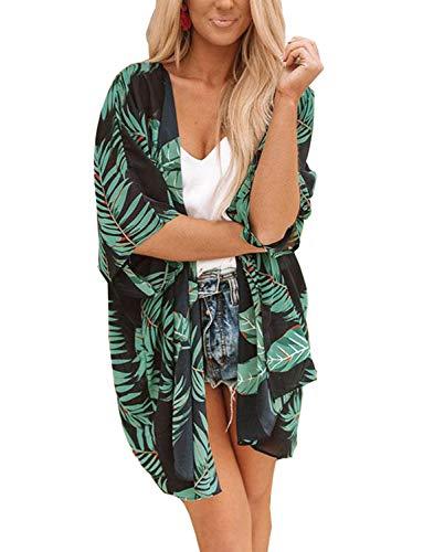 Chunoy Women Summer Short Sleeve Overlay Palm Printed Kimono Cover Up Dark Green Small