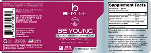 Astaxanthin PRO, Astaxanthin Pills Rejuvenate & Revitalize Your Body The ONLY Astaxanthin Supplement with Type-II Collagen Krill Oil Omega-3 & NAC for Anti-Oxidant Anti-Inflammation Power 60 Capsules by BE+ (Image #6)