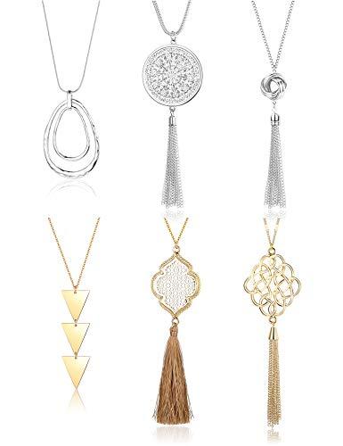 Finrezio 6PCS Long Pendant Necklace for Women Simple Three Triangle Arrow Circle Knot Tassel Y Strands Statement Necklaces Set