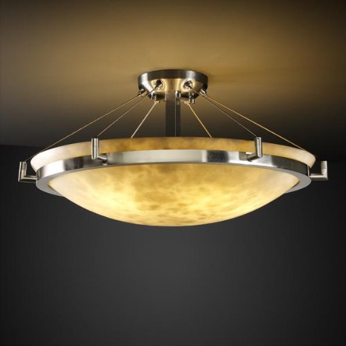 Justice Design Group CLD-9682 - Ring 24'' Semi-Flush - Round Bowl Shade - Brushed Nickel (24' Bowl Flush Round Semi)