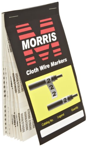 Morris Products Pre-Printed Wire Marker Booklet - Fire Alarm Standard Marking - For Cable Hook Ups – Oil, Water, Abrasion Resistant – Self-Adhesive Cloth Material – 1 Count ()
