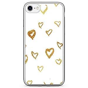 iPhone 7 Transparent Edge Phone Case Doode Heart Phone Case Doodle Gold iPhone 7 Cover with Transparent Frame