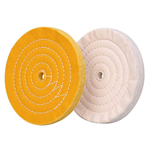 Polishing Wheel for Bench Grinder Buffing Wheel 8 inch White (70 Ply) & Yellow (42 Ply) for Buffer Polisher with 5/8 Inch Arbor Hole 2 PCS (Buffing Wheel 8 Inch)