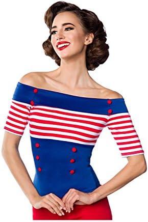Belsira Damen Jersey-Bluse im Retro-Style M