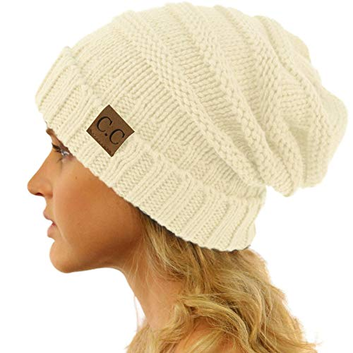 - CC Winter Trendy Warm Oversized Chunky Baggy Stretchy Slouchy Skully Beanie Hat Ivory
