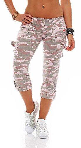 3/4 Caprihose im Camo-Style Bermuda Chinohose Sommerhose Jeans Hochwasserhose 7/8 Cargopants Boyfriendhose Sweatpants Freizeithose 478-C Damen (36, rosa)