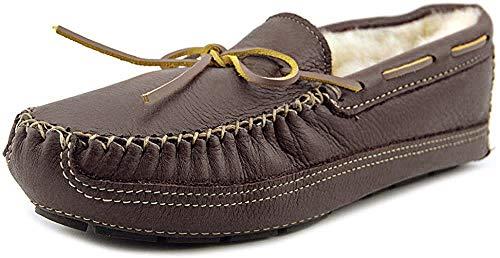 Minnetonka Men's Chocolate Sheepskin Lined Moose Slipper 13 D(M) US