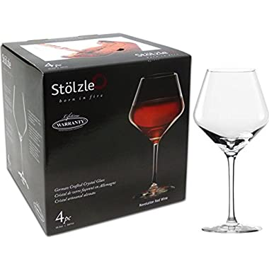 Stolzle 4pk Red Wine Glass Set, German Made Revolution Red Wine 18.5oz Glass Set, Lead-Free Crystalline