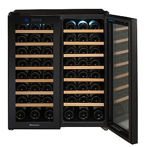 Wine Enthusiast 272 48 03 51W Silent 48 Bottle Touchscreen Double Door Dual Zone Wine Refrigerator, Black