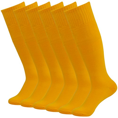 Fasoar Women Men Youth Girls Cool High Soft Stretch Football Sports Socks Pack of 6 Orange  6 pack orange  One Size]()
