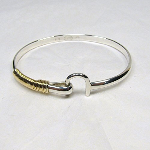 St. Croix Hook Bracelet 4 mm, Sterling Silver and 14K Gold Fill Hook Braclet, Island Love Bracelet, Couples Unisex ()