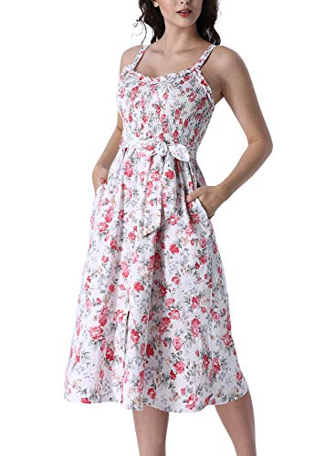 (VFSHOW Womens Summer Floral Ruffle Neck Spaghetti Strap Smocked Buttons Pockets Casual Beach Swing A-Line Midi Dress G2961 WHT L)