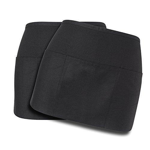 (Workday Professional 3 Pocket Waist Apron (2 Pack) Cotton - Restaurant Half Aprons, Bartender Apron, Money Apron, Check Holder (Black))