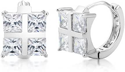 Cubic Zirconia Hoop Huggie Earrings - Silver or Yellow Gold Plated with Square Princess Cut CZ Stones - By Kezef Creations