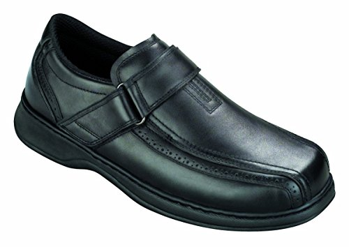 Orthofeet Arch Support Heel Pain Diabetic Orthopedic Adjustable Strap Loafers Casual Mens Shoes Lincoln Center Black